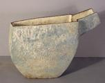 Stoneware pouring vessel with pale blue glazes by Paul Philp