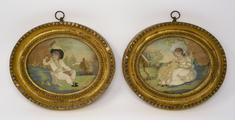 Pair of Georgian Silkwork Pictures <br/> in original oval gilt frames<br/>18th/early 19th Century    by