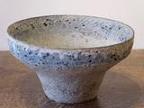 Stoneware bowl with pale blue and cream pitted rim by Paul Philp