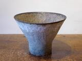Stoneware bowl with blue/grey and white striations by Paul Philp