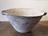 Large stoneware bowl with two square handles by Paul Philp