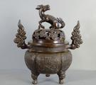 Chinese bronze censer & cover by